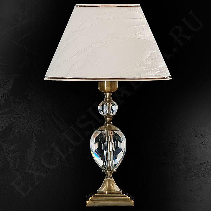 Настольная лампа 147ХР для гостиной из хрусталя с абажуром бежевого цвета купить недорого в интернет-магазине Exclusivalux