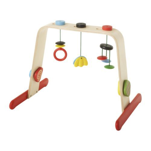 LEKA Baby gym IKEA Reaching out for toys stimulates a babys development of hand-eye coordination. Sharp contrasts; easy for a small child to see.