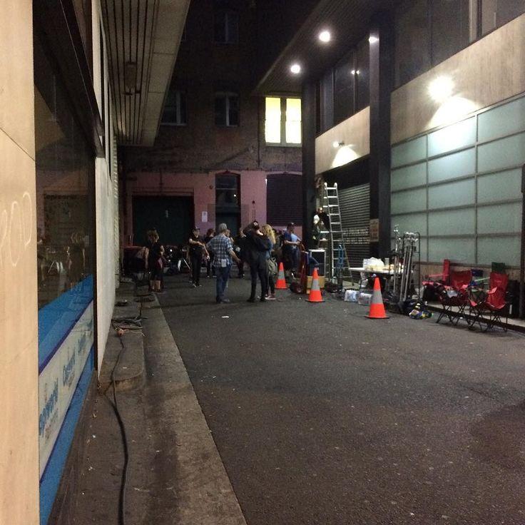 Light and shadow play on lanes & film crews at night in Sydney CBD - #lightandshadowplayonlanes #light #shadow #lane #Sydney #night #CityofSydney  #filmcrew #SydneyCBD #witcheshat #witcheshats