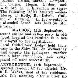 WEEKS, William E. Death at Bowenvale, VIC, 11th Sep. Past president and councillor of Tullaroop Shire. Leaves widow, no family. Bendigo Advertiser, 12 Sep 1902, p. 3, 'Our country service'.