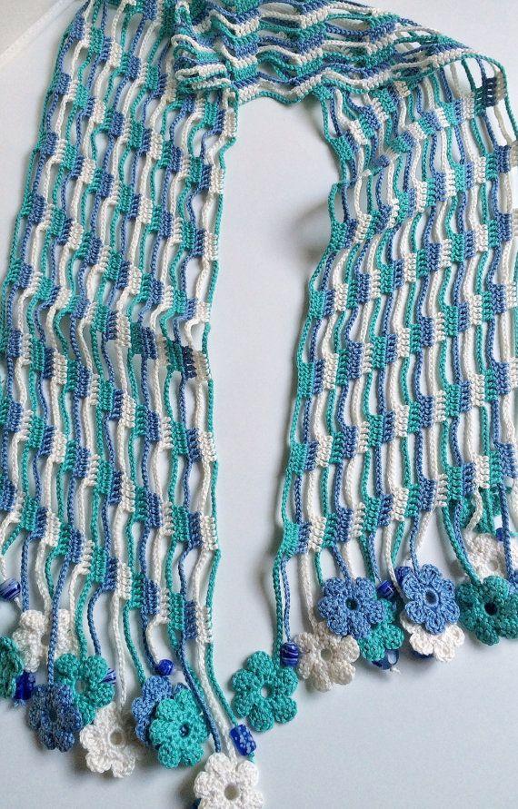Blue shades flowery beaded crochet summer scarf