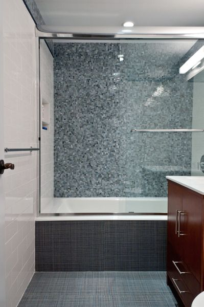 Artistic Tile This Shower Features The Bb Blue Miles Modular Pattern From Jazz Gl