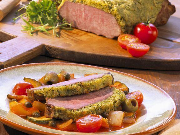 Kalbsrücken mit Kräuterhaube und Ratatouille-Gemüse ist ein Rezept mit frischen Zutaten aus der Kategorie Kalb. Probieren Sie dieses und weitere Rezepte von EAT SMARTER!