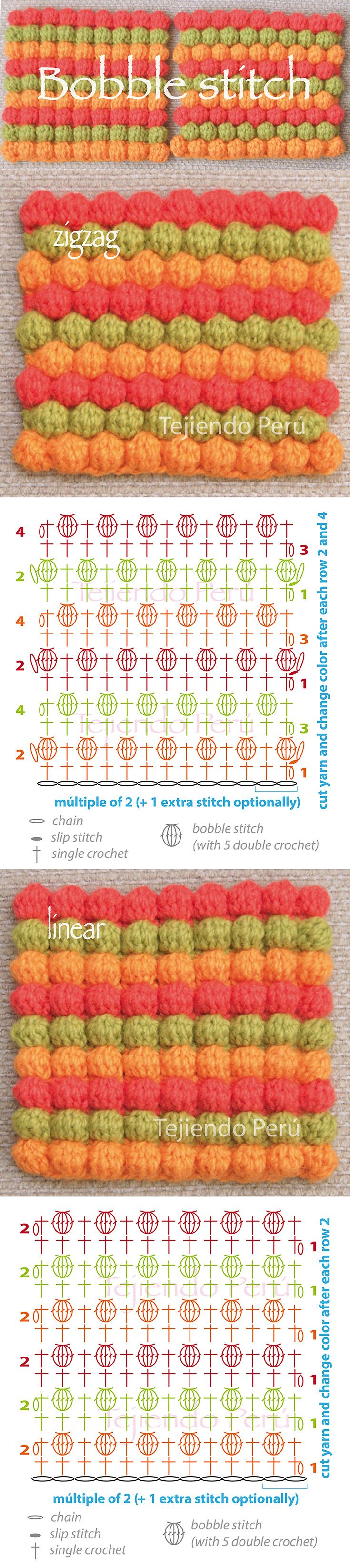 Crochet bobble stitch ir puff stitch pattern: zigzag and linear! (diagram or chart)