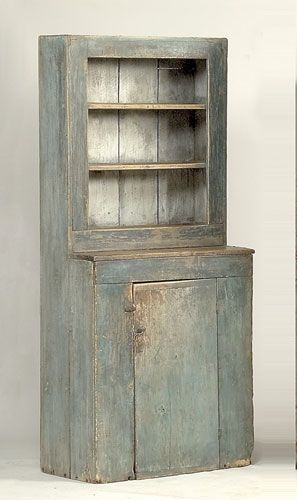 Ohio Step-Back Cupboard in Old Blue Paint, first half of the 19th century