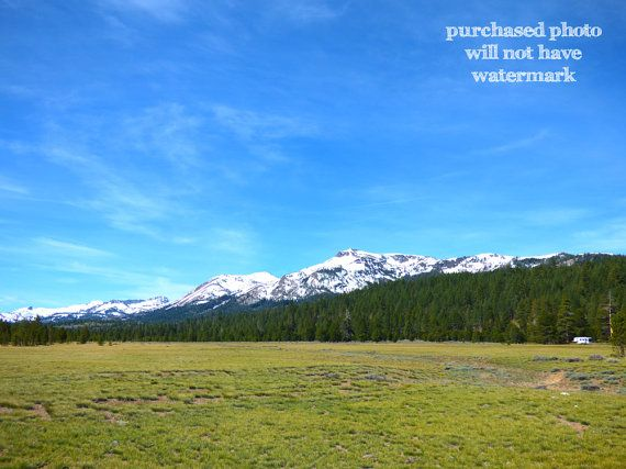 Snow Capped Mountain Meadow Sierras Wilderness by LiveFreeTravel