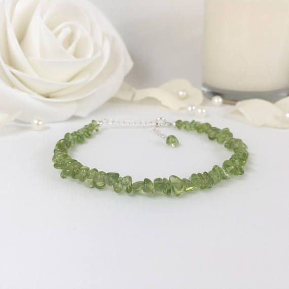 Peridot Bracelet Sterling Silver August Birthstone Gift for