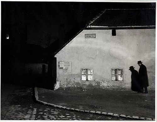 """Bocskay-ter, Budapest"" by Andre Kertesz (1914)    Kertesz was a genius of photography.  This picture is of his brother, and according to the description, the exposure time was over a minute."