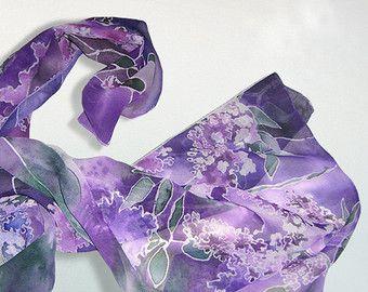 Sciarpa di seta viola del pensiero  mano dipinta sciarpa