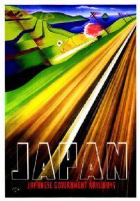 Vintage Travel poster, Japan, Japanese Government Railways