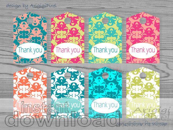 thank you hang tags, damask gift tags, craft tags, printable, digital ...