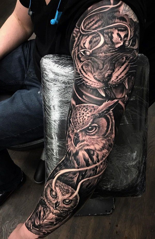 Owl Sleeve Tattoo : sleeve, tattoo, Google, Image, Result, Http://www.cuded.com/wp-content/uploads/2014/02/3D-, Owl-sleeve-tattoo.jpg, Tattoo, Sleeve,, Tattoo,
