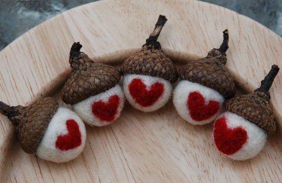 Wool Acorn Decorations with Needle Felted by greenbaboondesigns, $15.00