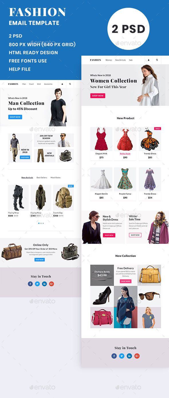 Fashion Man Women Email Template E Newsletters Web Elements