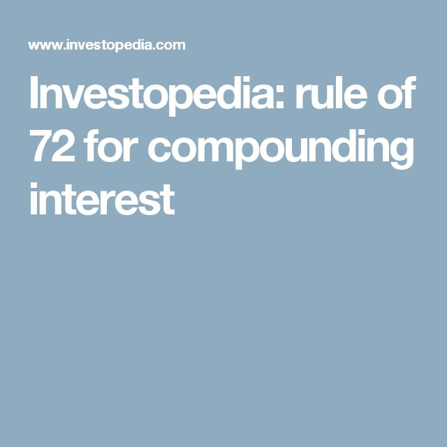 Investopedia: rule of 72 for compounding interest