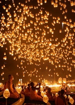 Chiang Mai in Thailand during a festival. Inspiration for the lantern scene in Tangled.