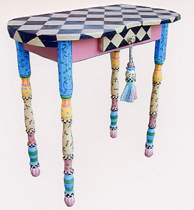 hand painted tables, dining tables, coffee tables, side tables, hall tables, occasional tables, nightstands, bedside tables