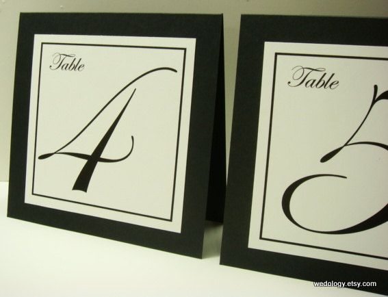 Wedding Table Number Tent with Elegant Font and Border Colors to Coordinate with your Wedding Reception Decor