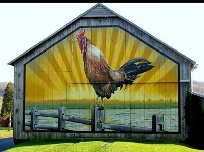 """""""In the course of our travels through Lancaster County we pass this colorful barn on Bridge Valley Road just before the Forry's Mill Covered Bridge. The other side of the barn has a colorful display of three young girls with the chickens. We've been told they're paintings of the farmer's granddaughters!"""" South of Mt. Joy, north of Columbia, west of Lancaster, Pennsylvania."""