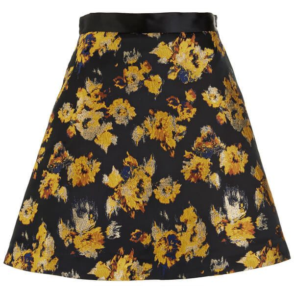 Sportmax Code Women's Eva Skirt - Yellow (387.915 COP) ❤ liked on Polyvore featuring skirts, mini skirts, yellow, short mini skirts, mini skirt, floral skirt, metallic skater skirt and high-waisted skirts