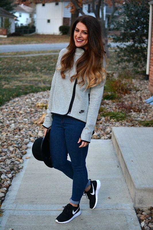 Ashley From Lsr Nike Tech Jacket Asos Jeans Nike Roshe