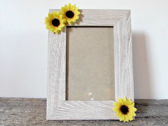 Sunflower Picture Frame 4x6 5x7 Or 8x10 Sunflower Photo Frame