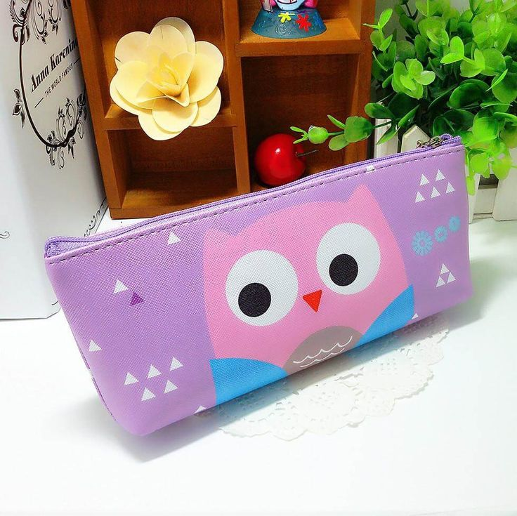 Sweet Owl Pencil Case (Purple) #Leather #Pencil-Case #Purple