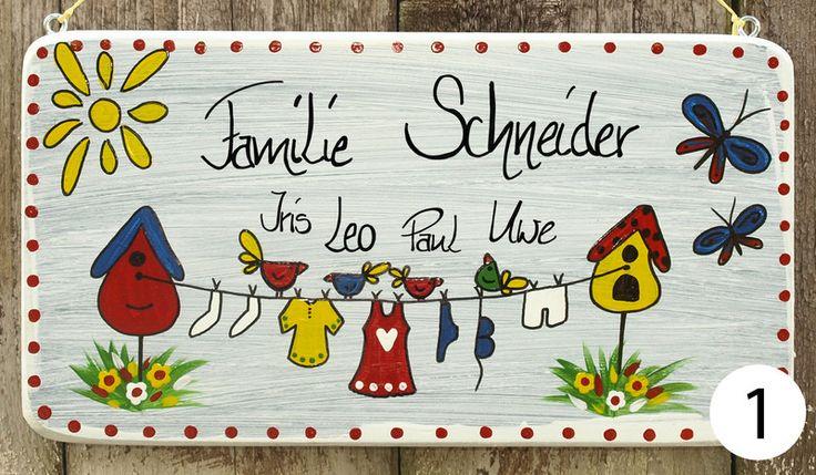 Türschilder - Türschild Familie, individuell mit Namen - ein Designerstück von Vogelliebe-Shop bei DaWanda