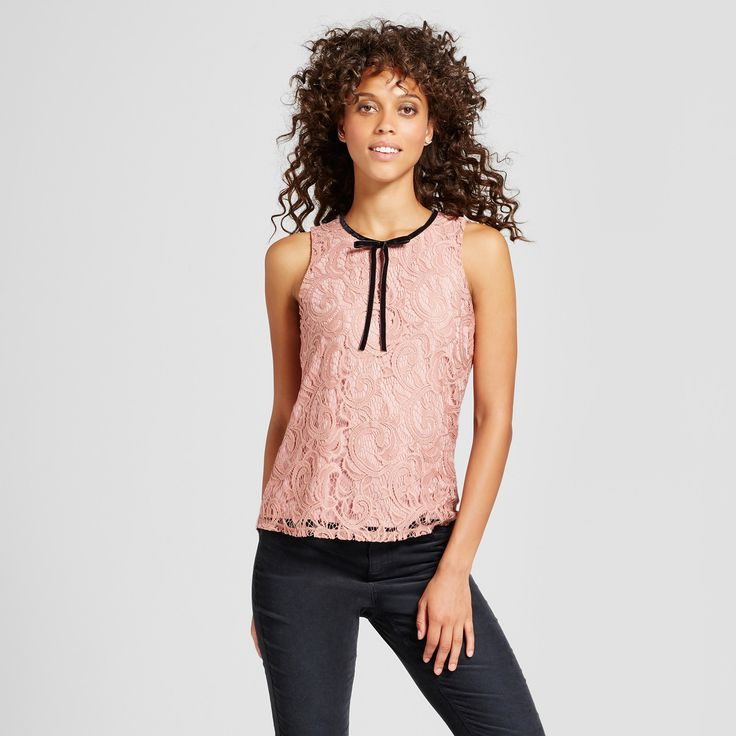 Women's Lace Velvet Bow Tie Sleeveless Top - 3Hearts (Juniors') Rose S, Pink