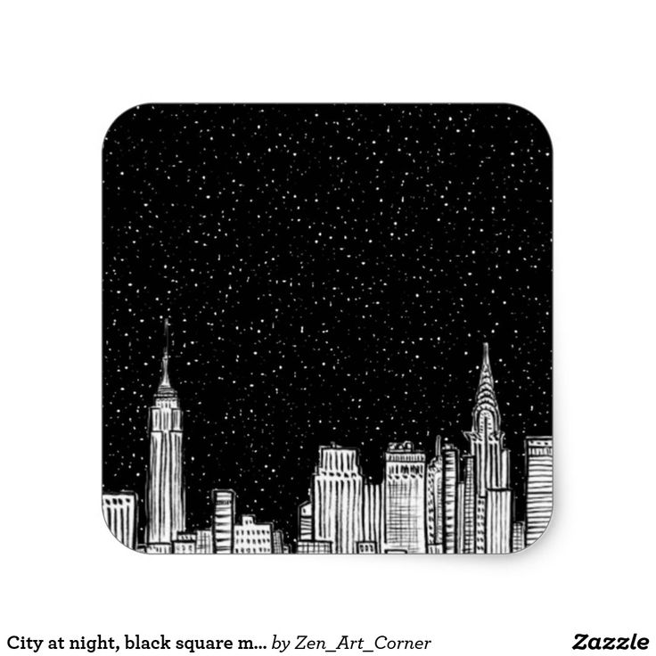 City at night, black square matte sticker