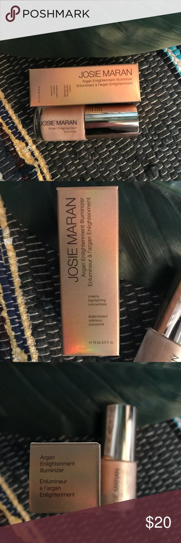 """josie marian argan illuminizer🌸 a versatile golden highlighting liquid  can be used on the face,  mixed with foundation,  moisturizer,  or oil for a magical lit-from-within glow!    """"A concentrated radiance liquid for the face, with high-performance crystals that are infused with multicolored luster pigments to capture and reflect light.""""  ! Sephora Makeup Luminizer"""