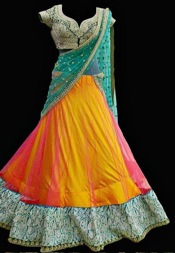 Brides by PB Turquoise, Pink & Yellow #Lehenga.