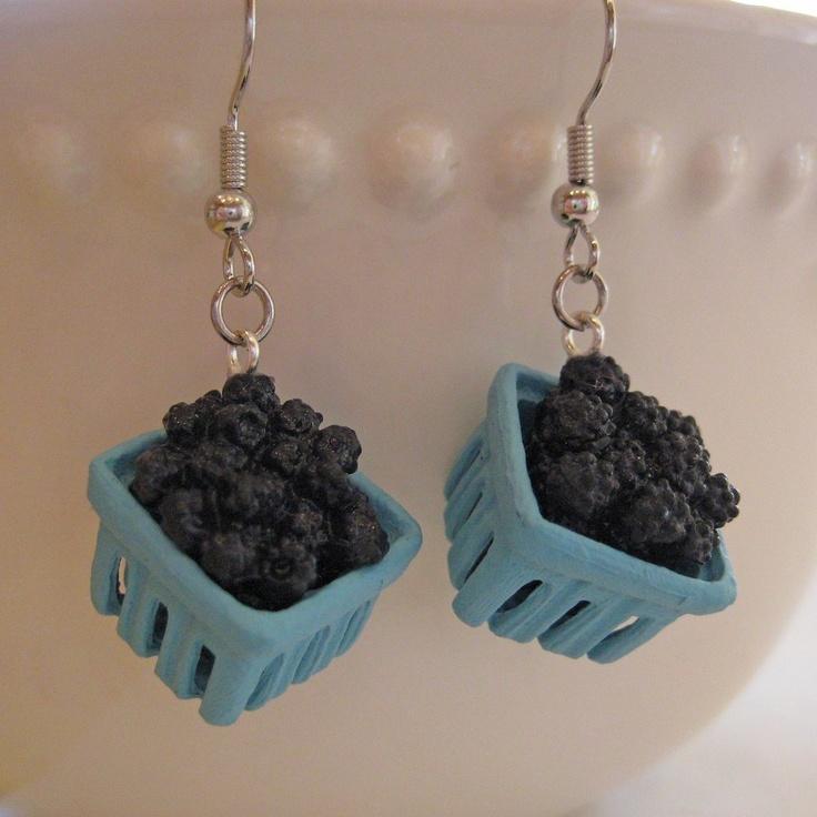 Pint of Blackberries Earrings - Food Jewelry. $14.00, via Etsy.