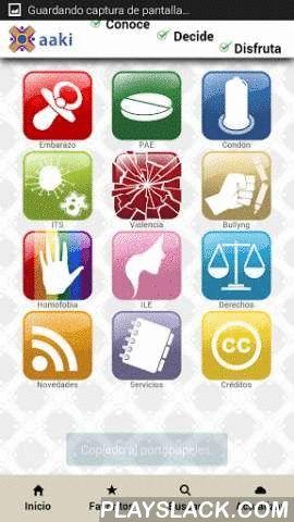 Aaki  Android App - playslack.com , Aaki es un aplicación dedicada a informar sobre la salud sexual y reproductiva de las y los adolescentes de México. Busca contribuir a la prevención del embarazo adolescente no planeado.Contiene información sobre el embarazo, condón, la pastilla anticonceptiva de emergencia, la interrupción legal del embarazo y otros métodos anticonceptivos; la violencia en la pareja, el bullying, la homofobia y los derechos sexuales de los jóvenes; los servicios que…