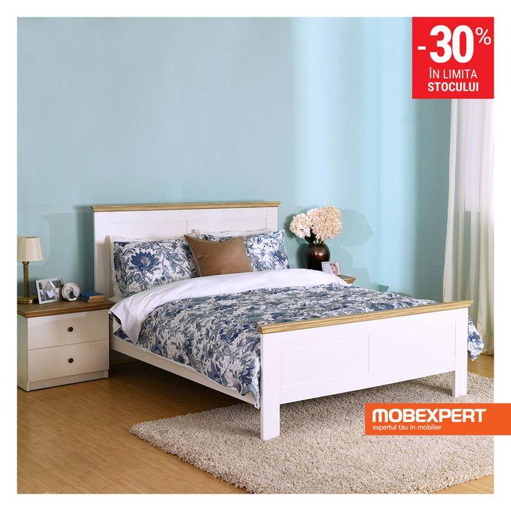Visezi la un dormitor amenajat modern și aerisit? Gama de mobilier pentru dormitor Rony este soluția la îndemână. Piesele de mobilier sunt realizate din PAL cu finisaj alb, stejar. #mobexpert #stoclimitat #reduceri
