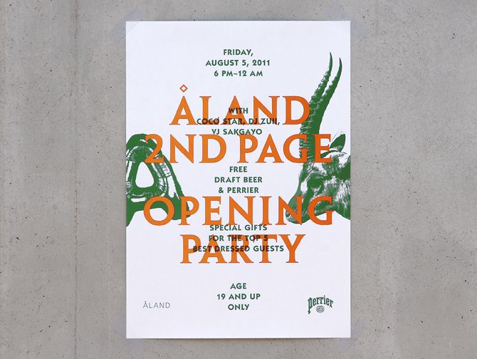 poster for ALAND - '2nd Page' opening party - studio fnt