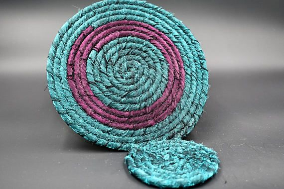 Jewel Toned Coaster Set Green Purple Coaster Set Boho Fabric
