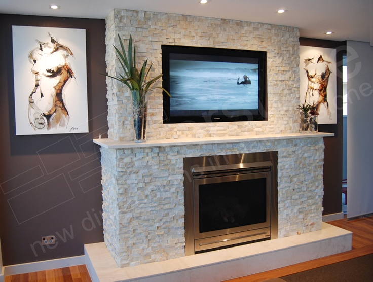 Beautiful stone wall with gas fireplace and marble mantle - Rockabilly mantel ...