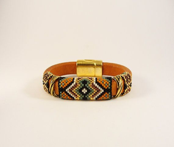 Tribal War Paint II Licorice Leather Bangle by Calisi on Etsy