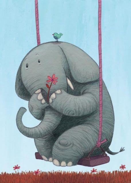 storypanda: A thoughtful elephant on a swing | Illustration by Moni Perez