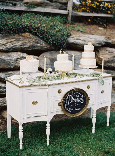 Vintage dessert table: http://www.stylemepretty.com/2015/01/07/whimsical-blush-and-gold-alfresco-wedding/ | Photography: Michael & Carina - http://www.michaelandcarina.com/