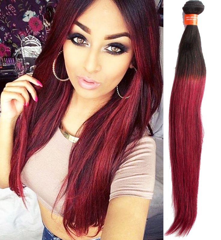 5Bundles 1B BURG# 2Tone Straight Brazilian 100% Human Hair Extension Haar Wefts