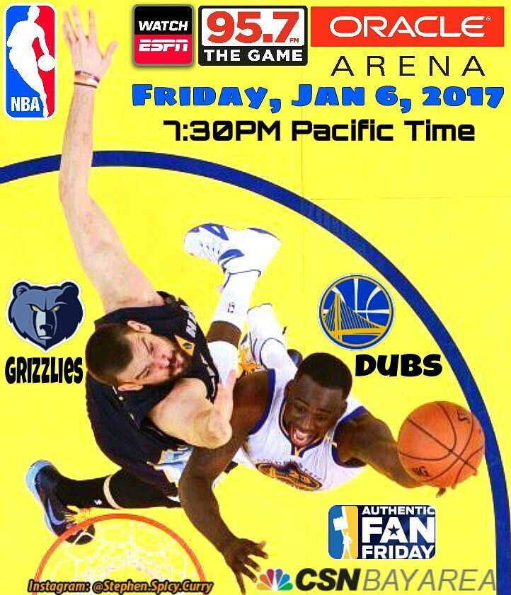 Game's at Oracle tonight in less than 6 hours against the Memphis Grizzlies (Friday Jan 6th at 7:30PM Pacific Time). It's Authentic Fan Friday Night and everybody at Oracle gets an official Warriors Cheer Card! Watch on CSN Bay Area nationally on ESPN and listen on 95.7 The Game.