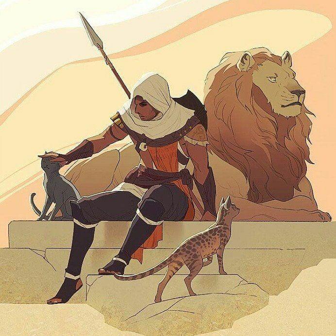 Acorigins Bayek The Cat Servant Assassins Creed Artwork