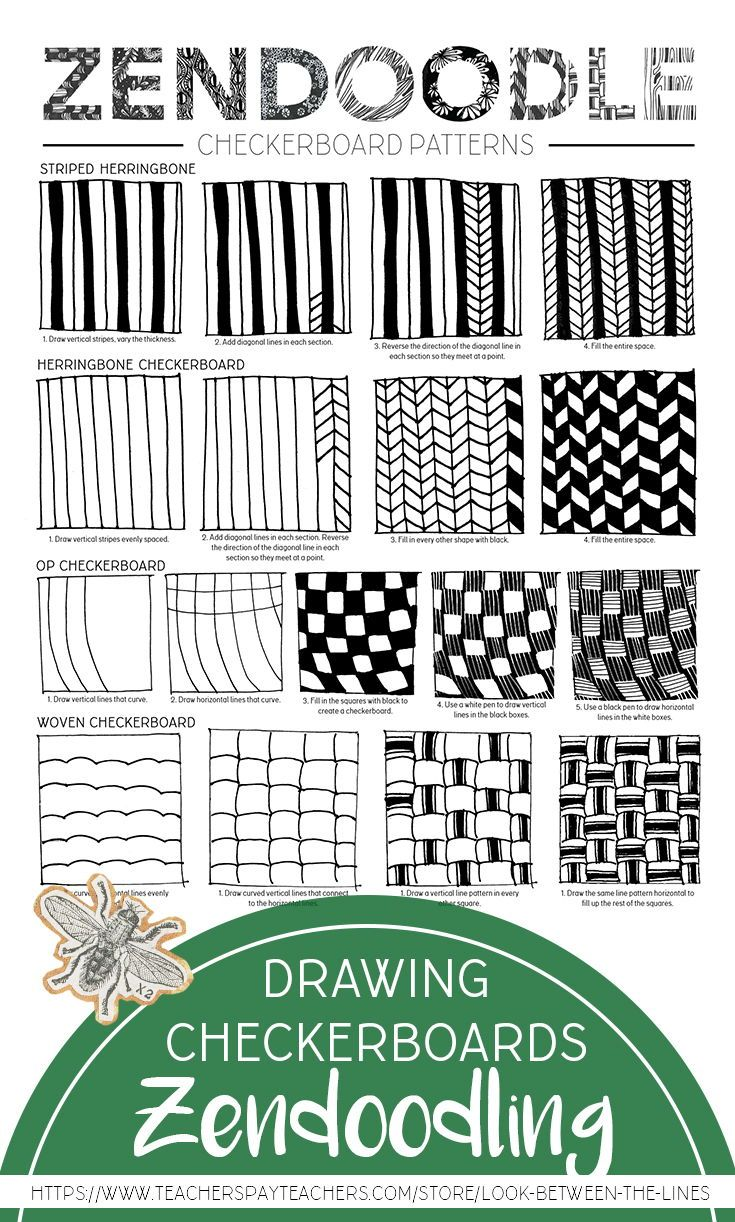 Zentangle Drawing Handout How To Draw Herringbone And