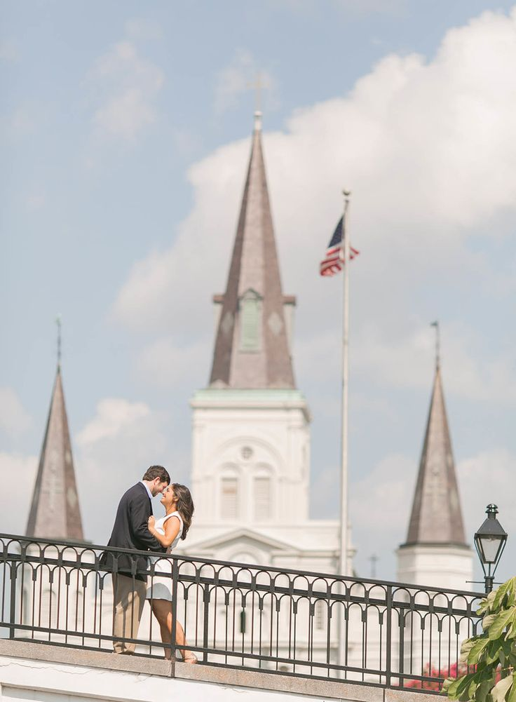 French Quarter Engagement photo in front of St. Louis Cathedral FRENCH QUARTER ENGAGEMENT SESSION  NEW ORLEANS WEDDING PHOTOGRAPHERS  