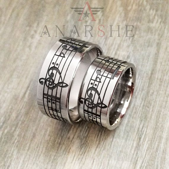 Personalized couple music note ring engraved music by ShopAnarshe