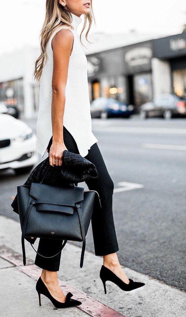 White Top + Black Pants & Heels + Black Leather Tote Source