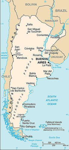 A map of the major cities in Argentina.