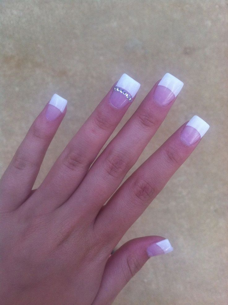 8 best nails images on pinterest acrylic nail designs duck feet white tip nails with little diamonds id swear this was my hand a few years ago if i didnt know any better prinsesfo Image collections